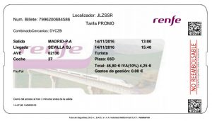 Train ticket, billete de tren