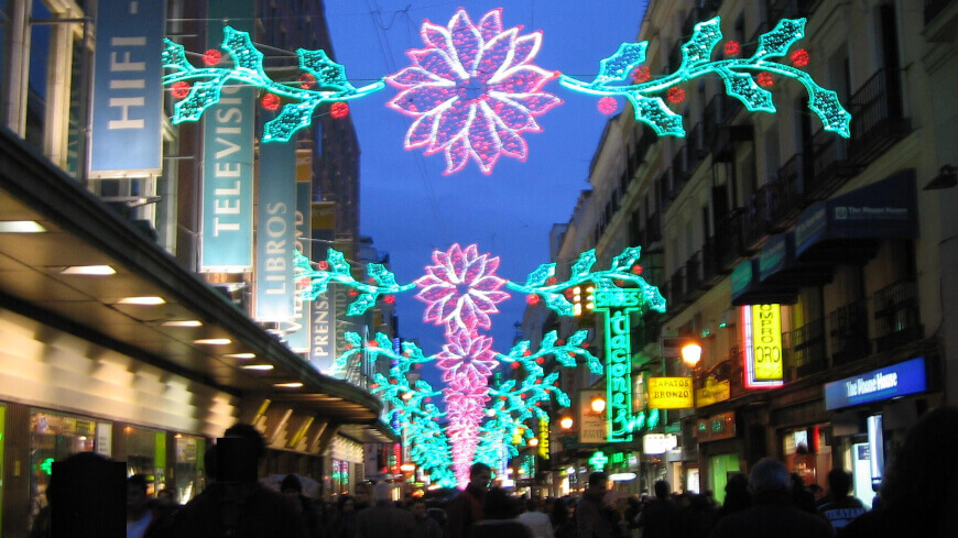 Calle Preciados Madrid En Navidad
